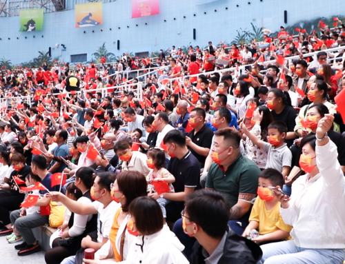海洋蓝变身中国红——天津海昌与祖国共庆生